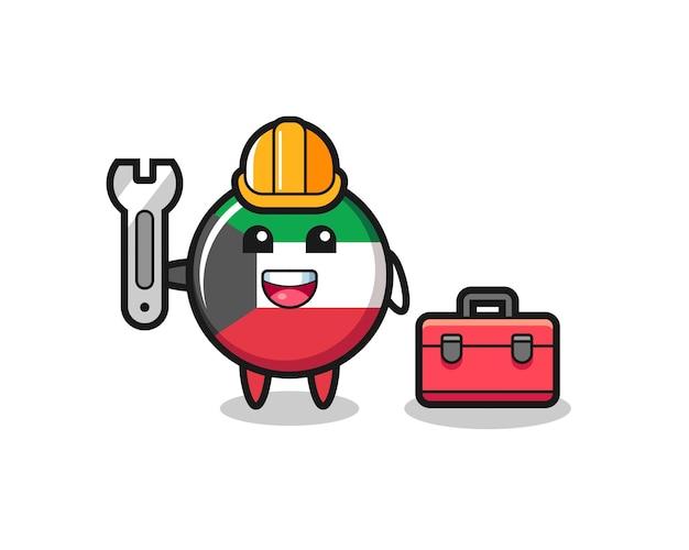 Mascotte del fumetto del distintivo della bandiera del kuwait come meccanico, design carino