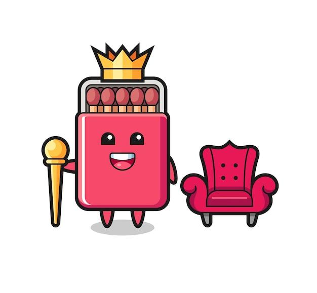 Cartone animato mascotte della scatola di fiammiferi come un re, design carino