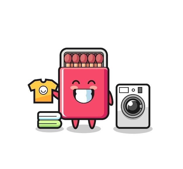 Cartone animato mascotte di scatola di fiammiferi con lavatrice, design carino