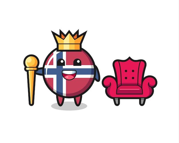 Cartone animato mascotte del distintivo della bandiera della norvegia come un re, design in stile carino per maglietta, adesivo, elemento logo