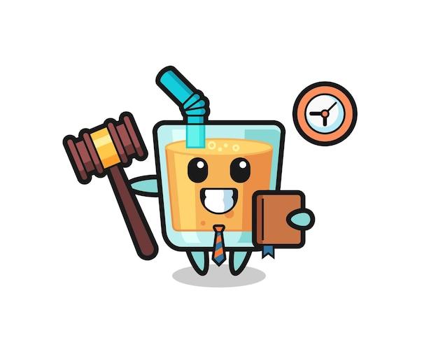 Cartone animato mascotte di succo d'arancia come giudice, design in stile carino per maglietta, adesivo, elemento logo