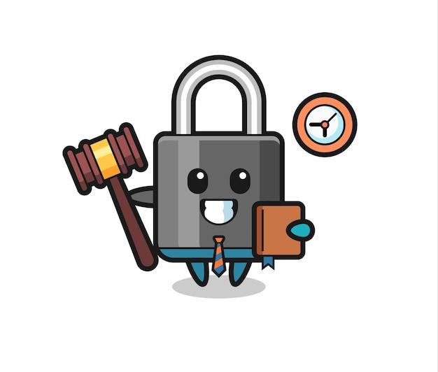 Cartone animato mascotte del lucchetto come giudice, design in stile carino per maglietta, adesivo, elemento logo