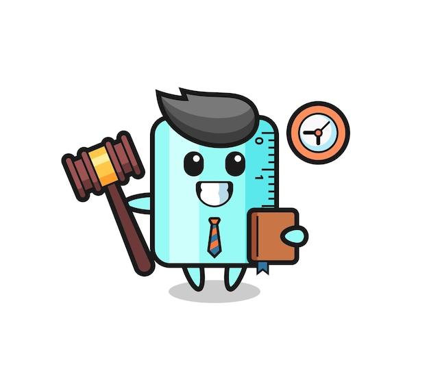 Cartone animato mascotte del righello come giudice, design in stile carino per maglietta, adesivo, elemento logo