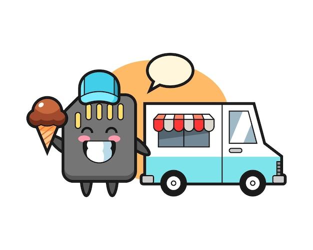 Mascotte del fumetto della scheda sd con camion del gelato, design in stile carino per t-shirt