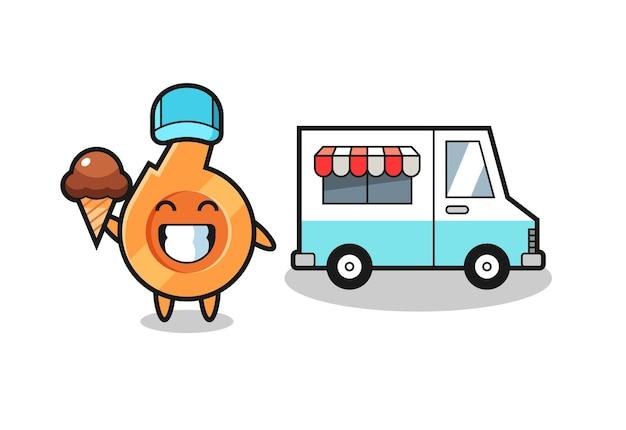 Cartone animato mascotte di fischietto con camion dei gelati, design carino