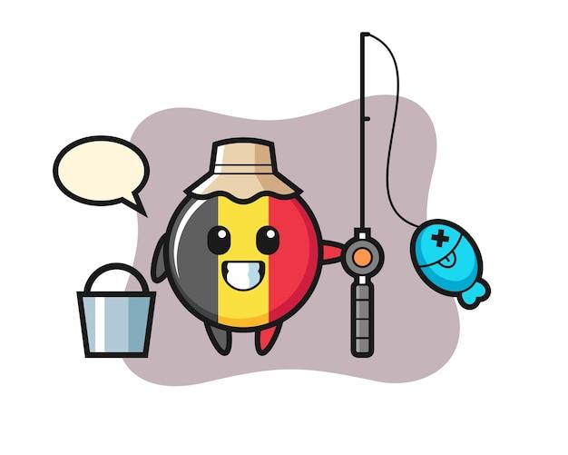 Personaggio mascotte del distintivo della bandiera belga come pescatore