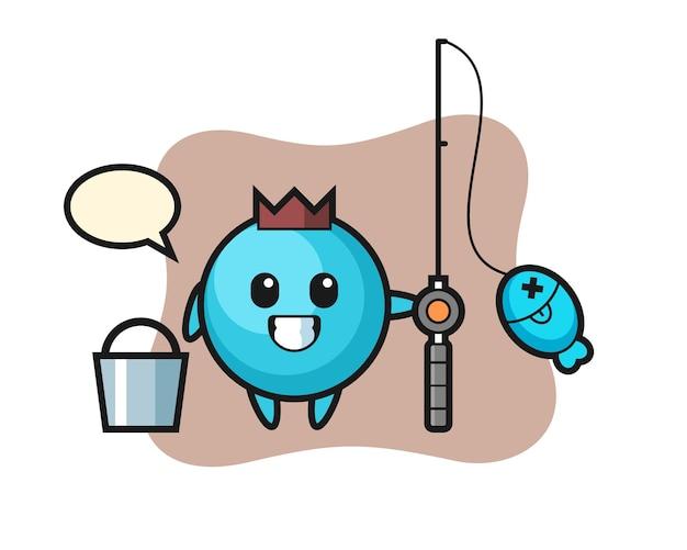 Personaggio mascotte di mirtillo come pescatore