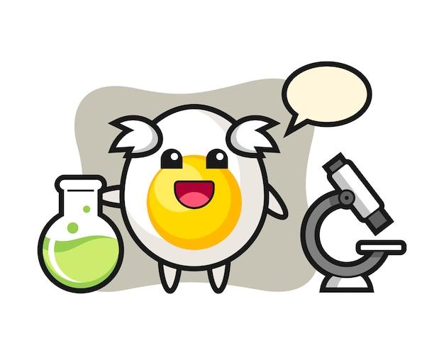 Personaggio mascotte di uovo sodo come scienziato