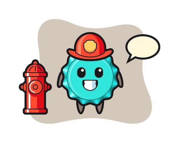 Personaggio mascotte del tappo di bottiglia come vigile del fuoco