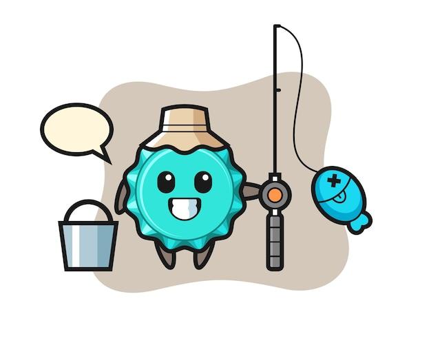 Personaggio mascotte del tappo di bottiglia come pescatore