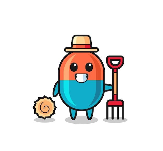Personaggio mascotte della capsula come agricoltore, design in stile carino per maglietta, adesivo, elemento logo