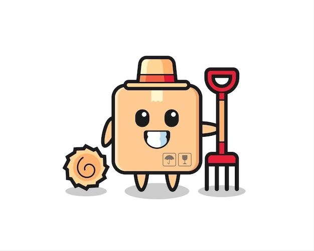 Personaggio mascotte della scatola di cartone come un contadino, design in stile carino per maglietta, adesivo, elemento logo