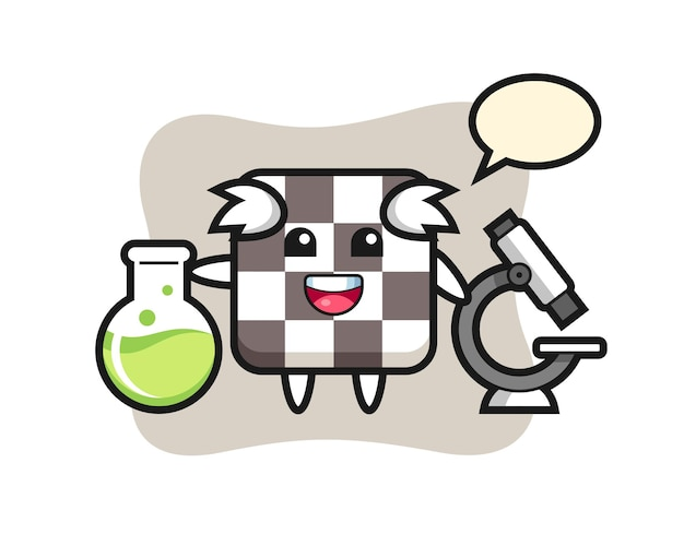 Personaggio mascotte della scacchiera come scienziato, design in stile carino per maglietta, adesivo, elemento logo