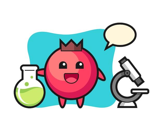 Personaggio mascotte del mirtillo rosso come scienziato, stile carino, adesivo, elemento del logo