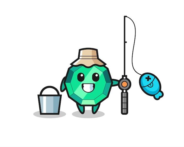 Personaggio mascotte della pietra preziosa smeraldo come un pescatore, design in stile carino per maglietta, adesivo, elemento logo