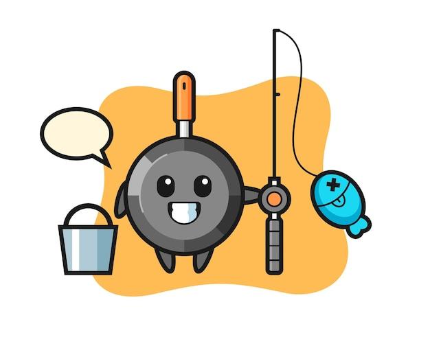 Personaggio mascotte della padella come pescatore