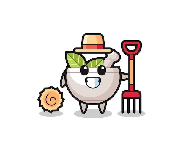 Personaggio mascotte della ciotola delle erbe come un contadino, design in stile carino per maglietta, adesivo, elemento logo