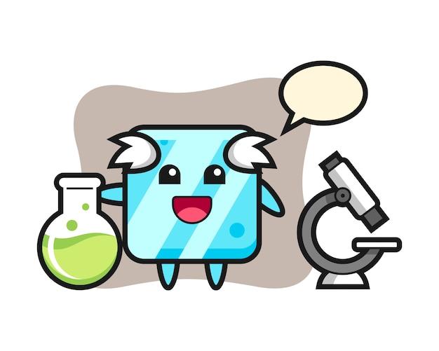 Personaggio mascotte del cubetto di ghiaccio come scienziato