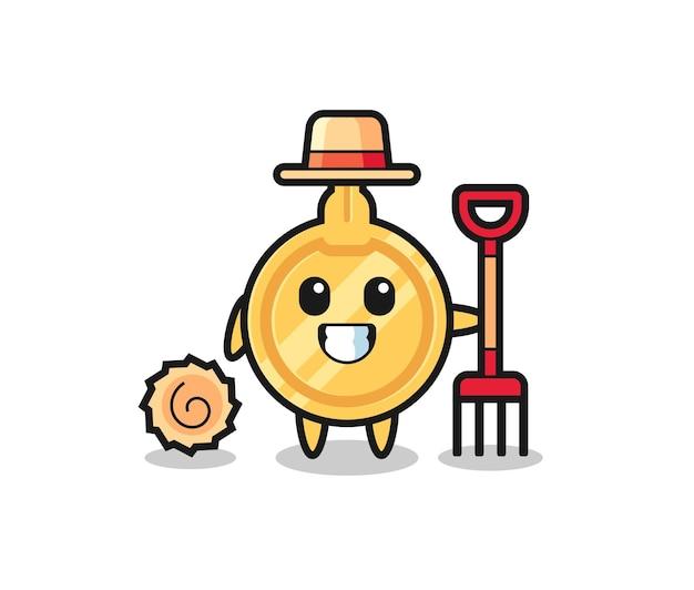 Personaggio mascotte della chiave come un contadino, design carino