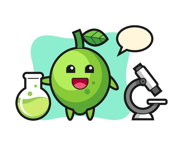 Personaggio mascotte di lime come scienziato, stile carino, adesivo, elemento del logo