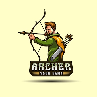 Loghi di mascotte o personaggi della caccia con l'arciere nella foresta, possono essere utilizzati e modello di logo del giocatore di gioco del tiratore scelto sportivo