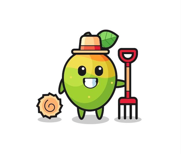 Personaggio mascotte del mango come agricoltore, design in stile carino per maglietta, adesivo, elemento logo