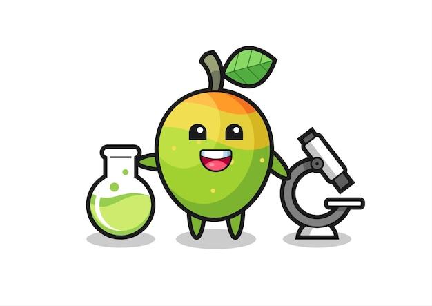 Personaggio mascotte del mango come scienziato, design in stile carino per maglietta, adesivo, elemento logo
