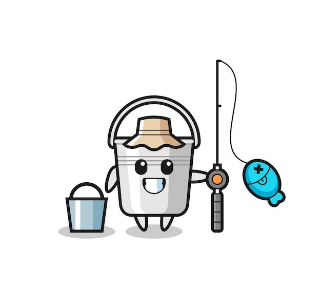 Personaggio mascotte del secchio di metallo come un pescatore, design in stile carino per maglietta, adesivo, elemento logo