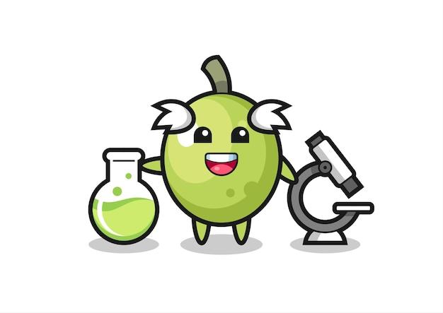 Personaggio mascotte di oliva come scienziato, design in stile carino per maglietta, adesivo, elemento logo