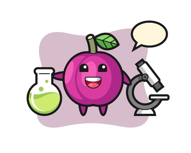 Personaggio mascotte del frutto della prugna come scienziato, design in stile carino per maglietta, adesivo, elemento logo