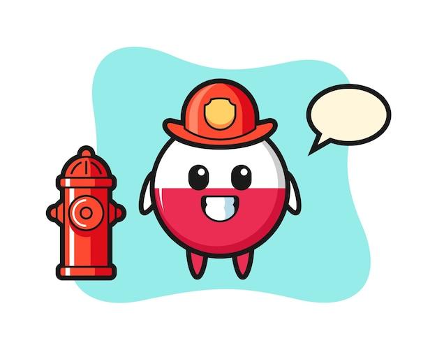 Personaggio mascotte del distintivo della bandiera della polonia come vigile del fuoco