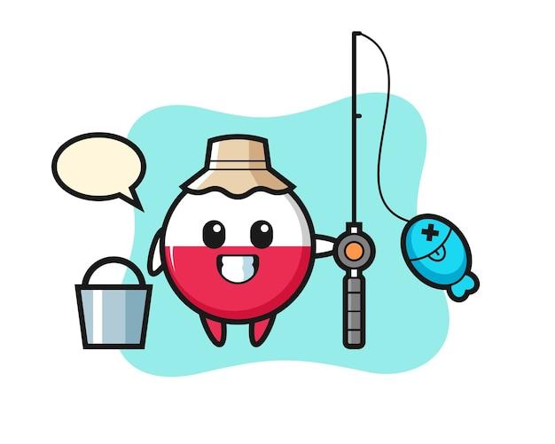 Personaggio mascotte del distintivo della bandiera della polonia come pescatore