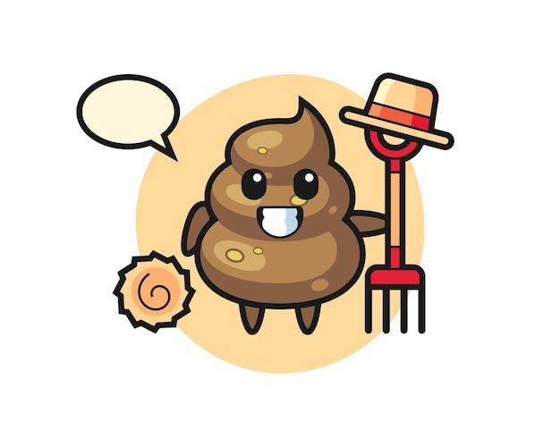 Personaggio mascotte di cacca come contadino, design in stile carino per maglietta, adesivo, elemento logo