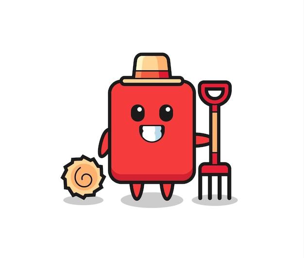 Personaggio mascotte del cartellino rosso come un contadino, design in stile carino per maglietta, adesivo, elemento logo