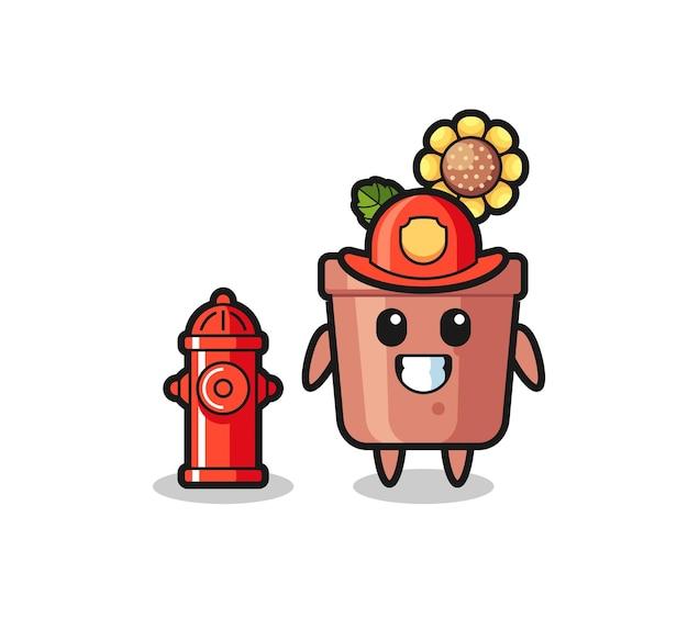 Personaggio mascotte del vaso di girasole come pompiere, design in stile carino per maglietta, adesivo, elemento logo