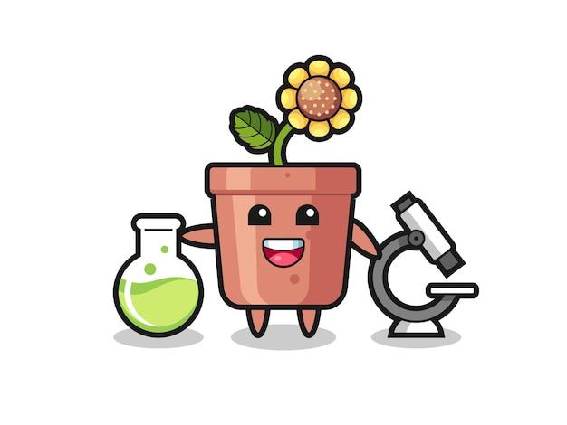 Personaggio mascotte del vaso di girasole come scienziato, design in stile carino per maglietta, adesivo, elemento logo