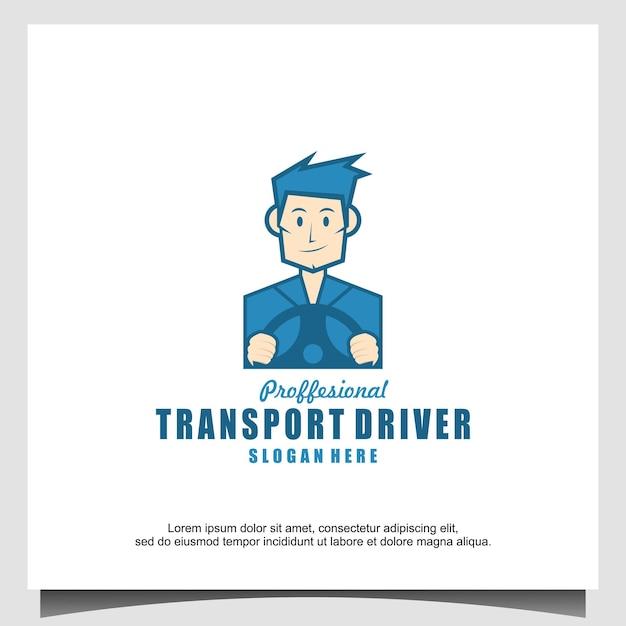 Illustrazione del design del logo del conducente del trasporto del personaggio della mascotte
