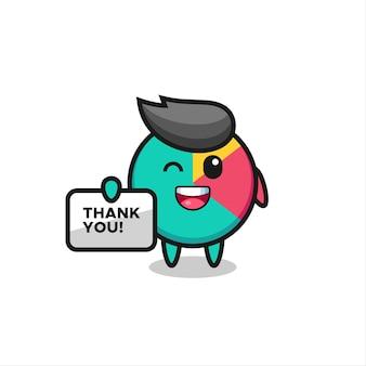 La mascotte del grafico con uno striscione che dice grazie, un design in stile carino per maglietta, adesivo, elemento logo