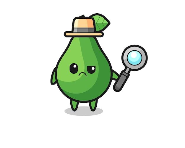La mascotte del simpatico avocado come detective, design in stile carino per maglietta, adesivo, elemento logo