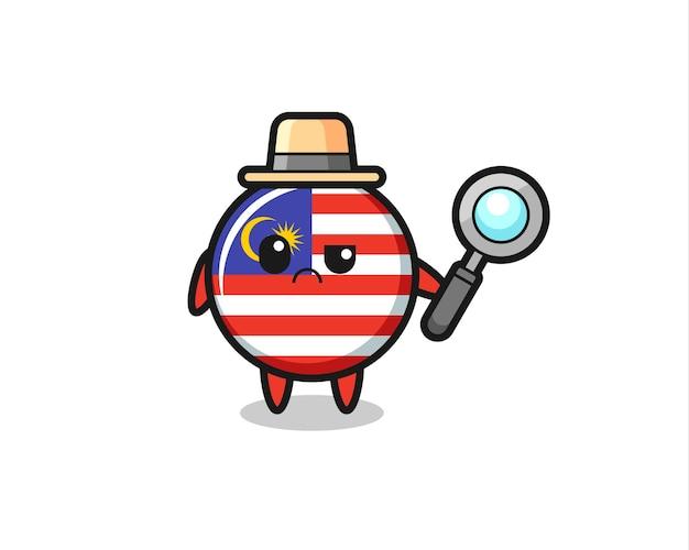 La mascotte del simpatico distintivo della bandiera della malesia come detective, design in stile carino per maglietta, adesivo, elemento logo
