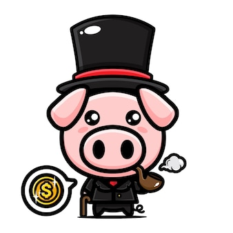 Design mascotte di simpatico personaggio di maiale