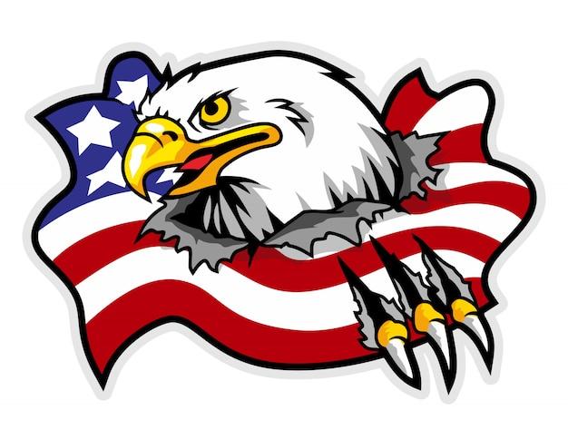 Mascotte di aquila che rompe bandiera america sullo sfondo