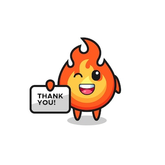 La mascotte del fuoco con in mano uno striscione che dice grazie, design in stile carino per maglietta, adesivo, elemento logo