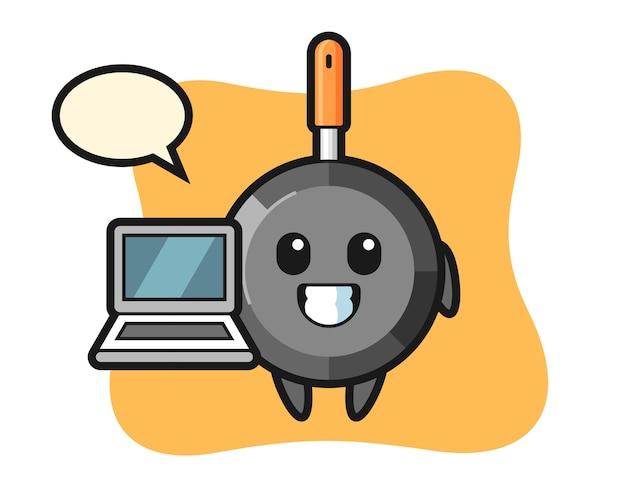 Padella mascotte con un computer portatile