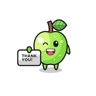 La mascotte della mela verde con in mano uno striscione che dice grazie, un design in stile carino per maglietta, adesivo, elemento logo