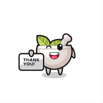 La mascotte della ciotola delle erbe con uno striscione che dice grazie, un design in stile carino per maglietta, adesivo, elemento logo