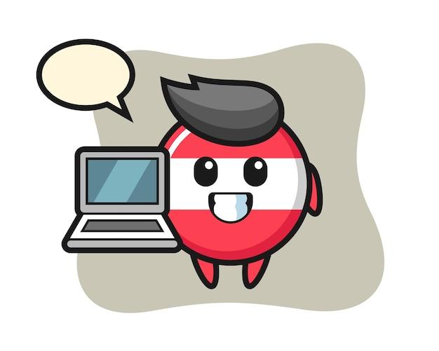 Illustrazione mascotte del distintivo bandiera austria con un computer portatile