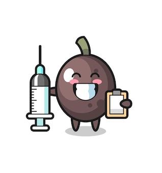 Illustrazione mascotte di oliva nera come medico, design in stile carino per t-shirt, adesivo, elemento logo