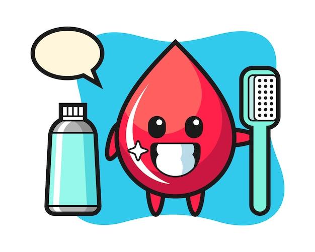 Illustrazione mascotte della goccia di sangue con uno spazzolino da denti, stile carino, adesivo, elemento del logo