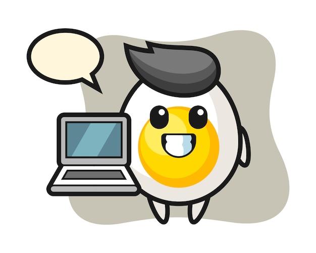 Illustrazione della mascotte dell'uovo sodo con un computer portatile